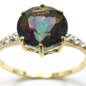 Jewelry - 10KT Yellow Gold 8MM Mystic Topaz & Diamond Ring 7